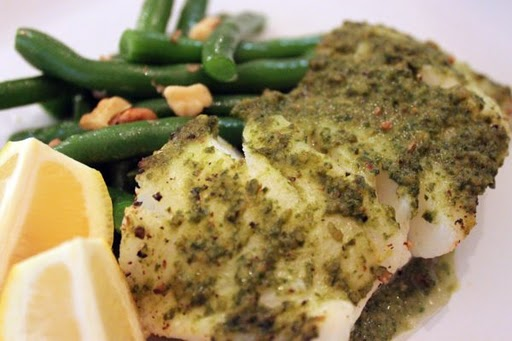 Post image for Oven Baked Sea Bass with Herb Pesto Sauce